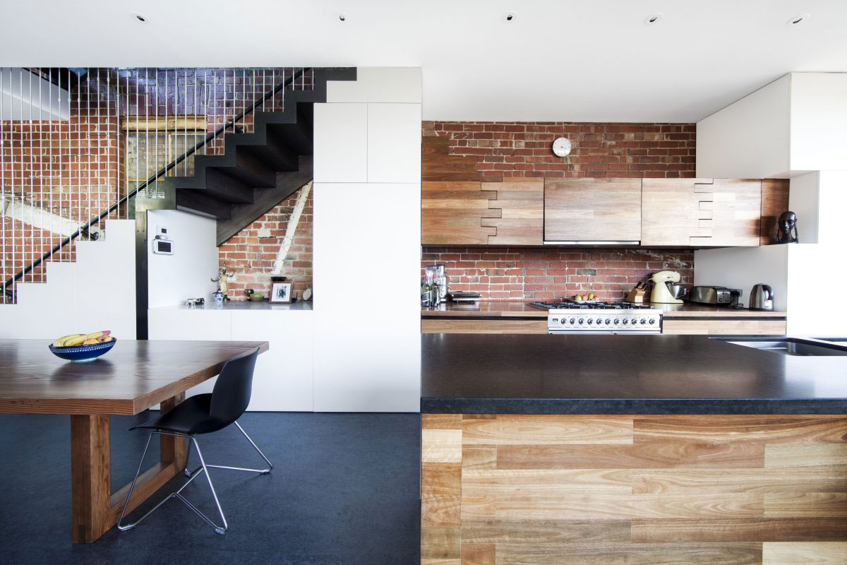 Kitchen Island, Dining Table, Warehouse Conversion in Fitzroy North, Australia