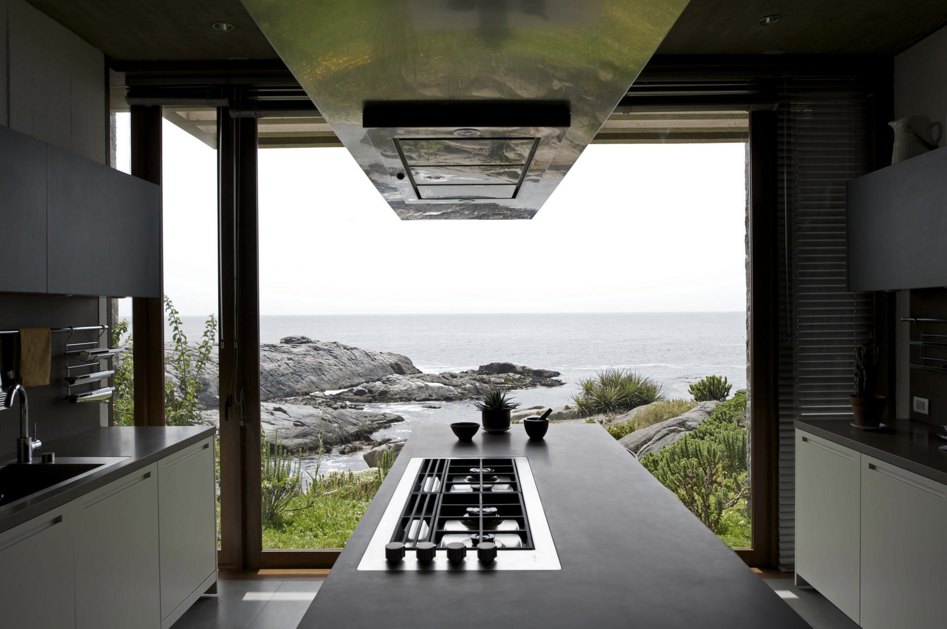 Kitchen Island Glass Wall, Oceanfront Holiday Houses in Punta Pite, Chile