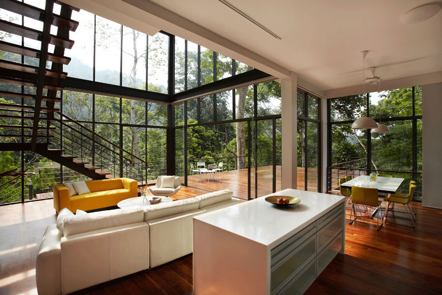 Kitchen Island, Living Space, Modern Hillside Home in Janda Baik, Malaysia