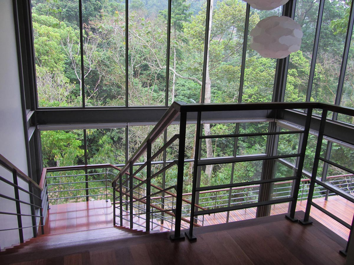 Landing, Stairs, Glass Walls, Lighting, Modern Hillside Home in Janda Baik, Malaysia