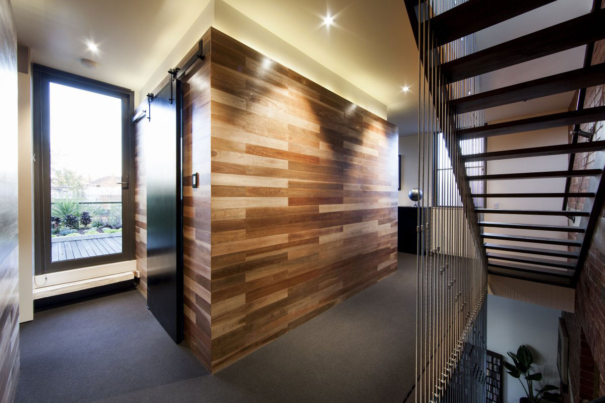 Landing, Stairs, Wooden Wall, Warehouse Conversion in Fitzroy North, Australia