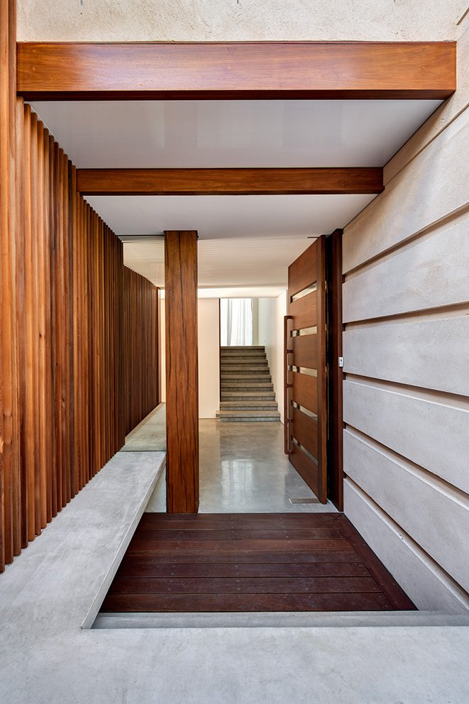 Large Wooden Front Door, Contemporary Home in Sydney Australia