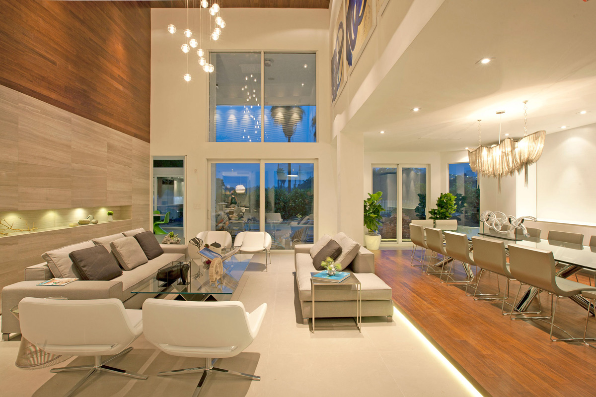 Living, Dining Space, Lighting, Sofas, Stylish Interior Design in Miami, Florida