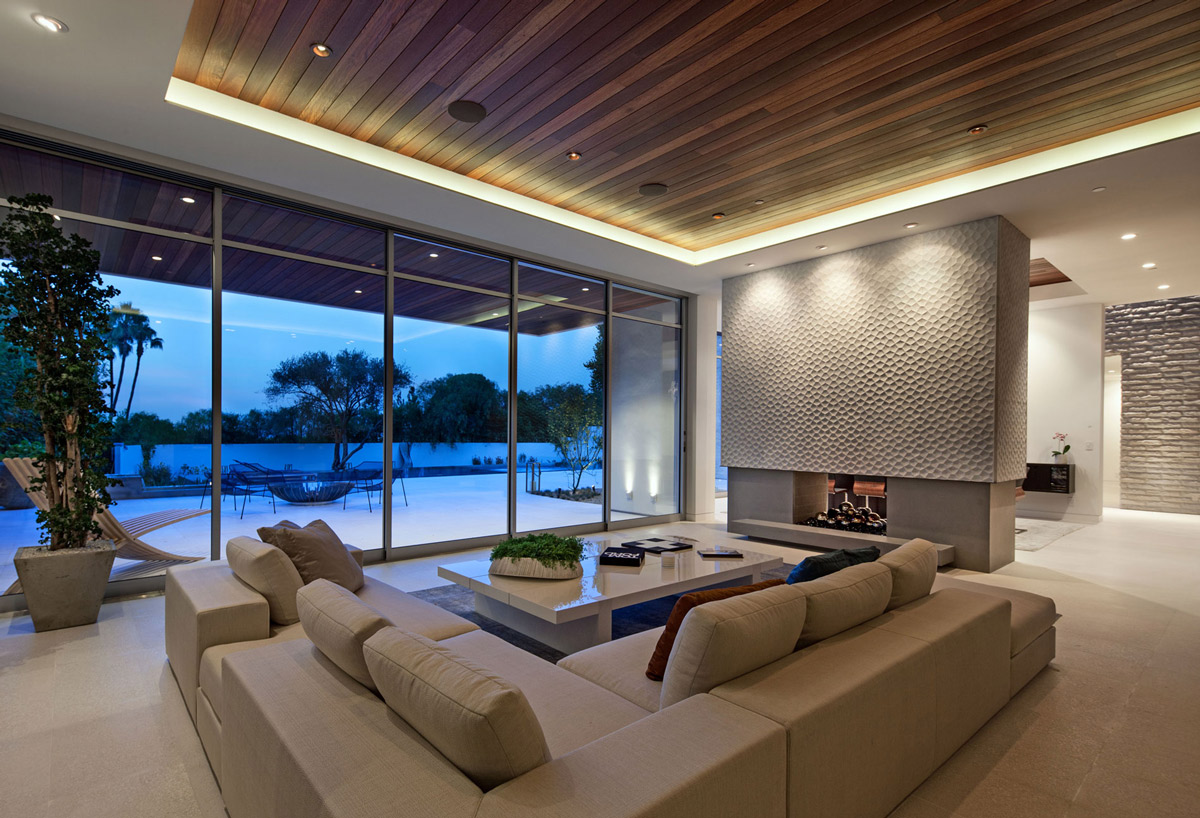 Living Room Fireplace Coffee Table Sofa Magnificent Modern Home On Sunset Strip