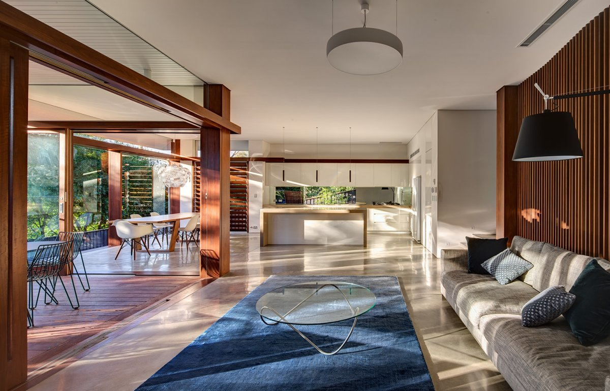 Living Room, Rug, Kitchen, Contemporary Home in Sydney Australia