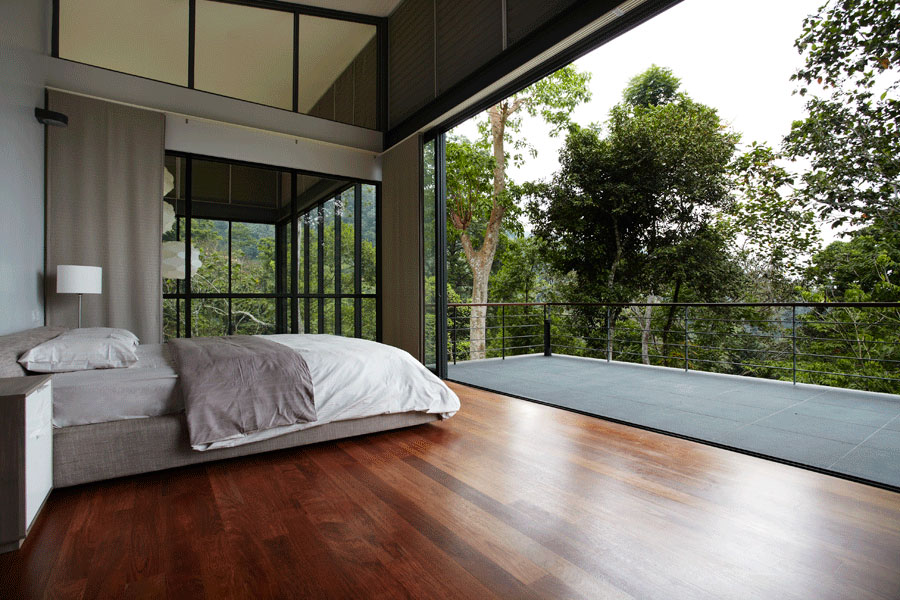 Minimalist bedroom balcony modern hillside home in janda for Minimalist house design in malaysia