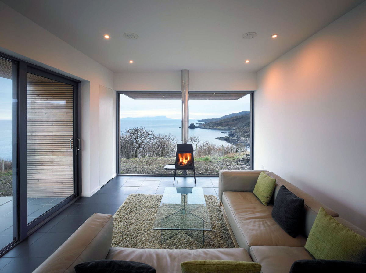 Modern Fireplace, Living Room, Contemporary Home on the Isle of Skye, Scotland