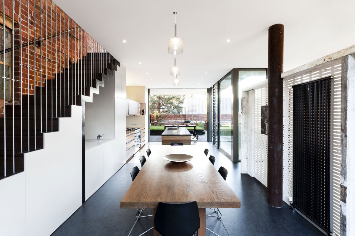 Open Plan Dining, Kitchen Space, Warehouse Conversion in Fitzroy North, Australia