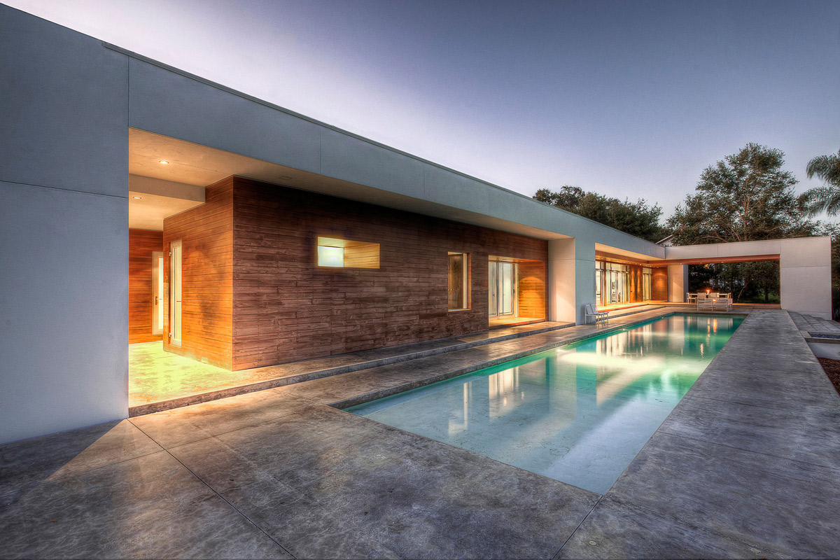 Outdoor Pool, Terrace, Eco-Friendly Contemporary Home in Winter Haven, Florida