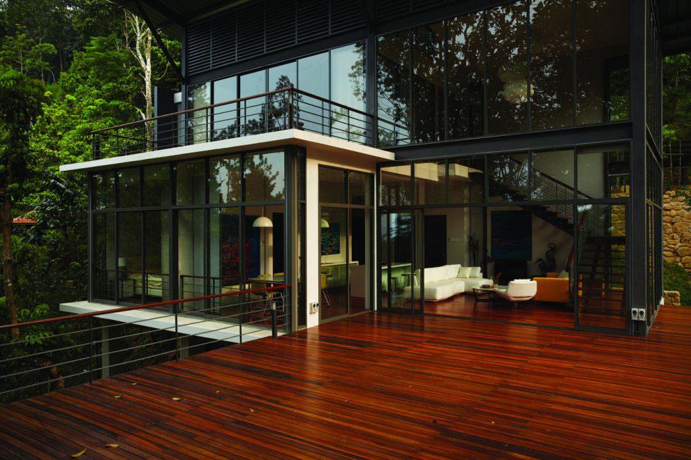 Patio Doors, Terrace, Living Space, Modern Hillside Home in Janda Baik, Malaysia