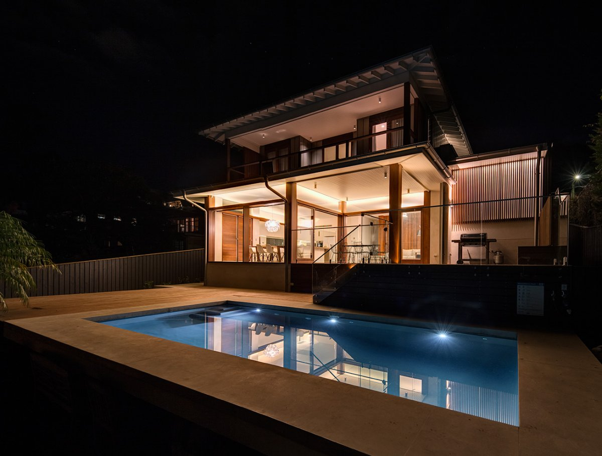 Pool Lights, Evening, Contemporary Home in Sydney Australia