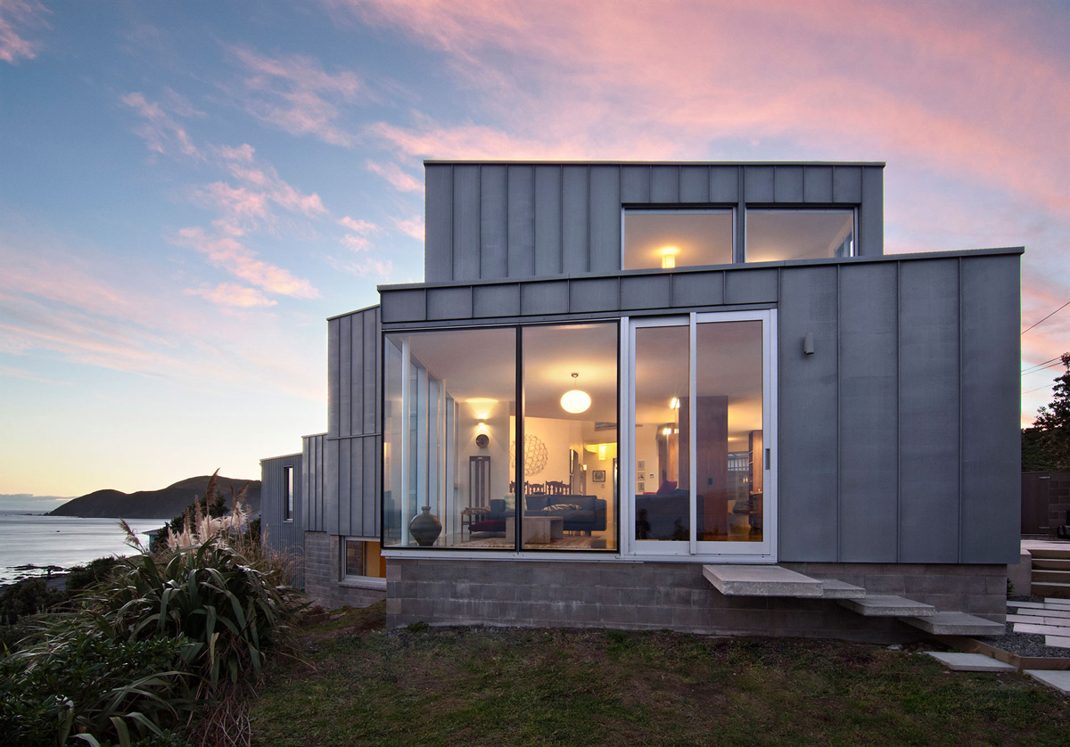 Side Façade, Evening Lighting, Cliff-top Home with Spectacular Views in Wellington, New Zealand