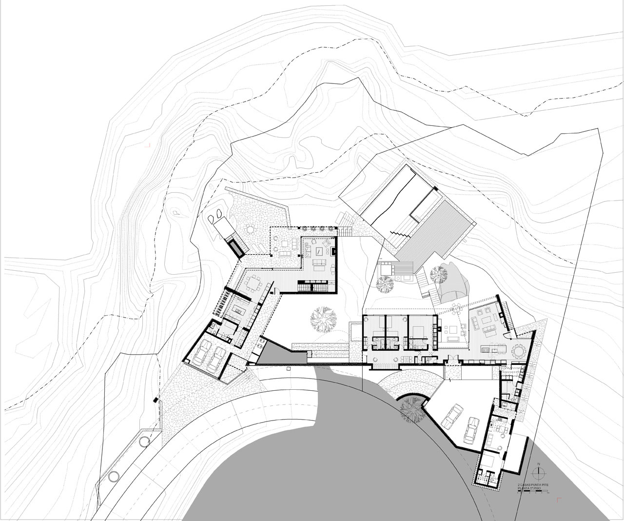 Site Plan, Oceanfront Holiday Houses in Punta Pite, Chile