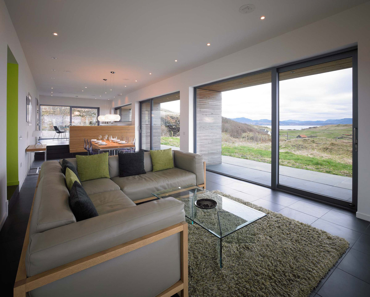 Sofa, Rug, Glass Coffee Table, Contemporary Home on the Isle of Skye, Scotland