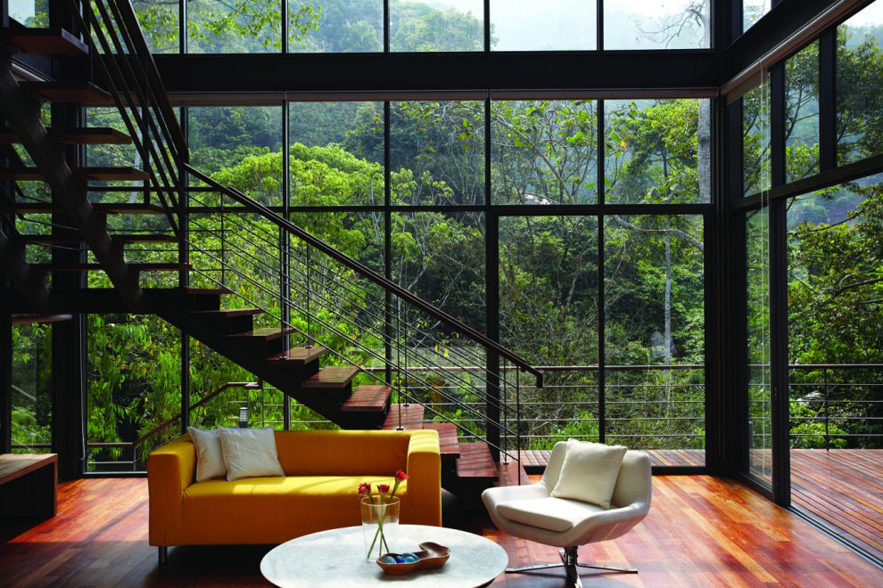 Stairs, Yellow Sofa, Living Space, Glass Walls, Modern Hillside Home in Janda Baik, Malaysia