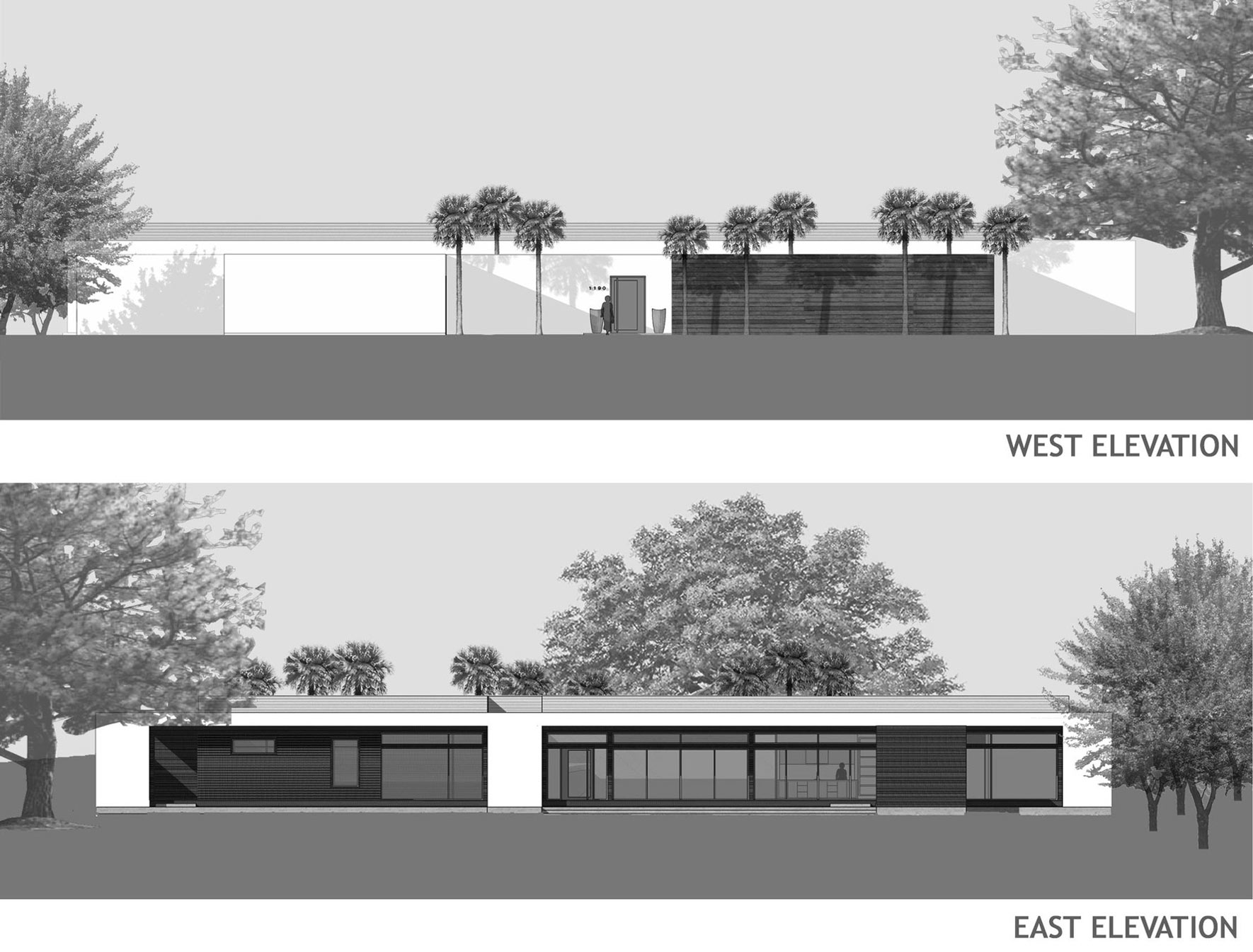 West & East Elevations, Eco-Friendly Contemporary Home in Winter Haven, Florida