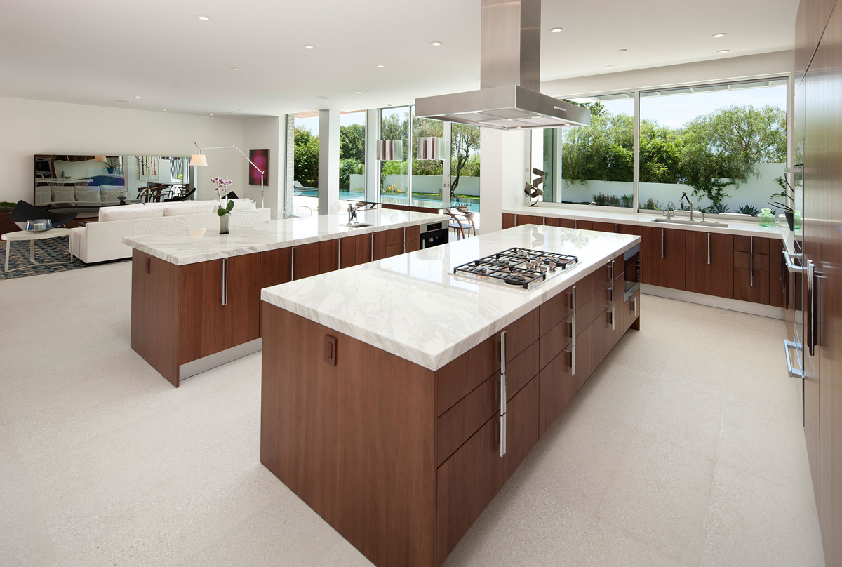 white marble counters kitchen islands magnificent modern home on sunset strip