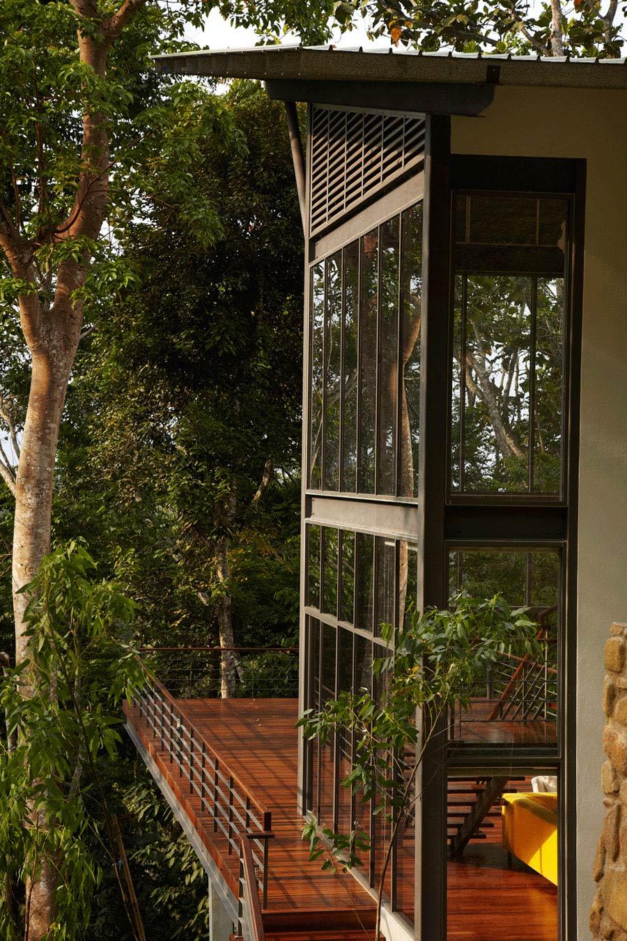 Wood Flooring, Terrace, Modern Hillside Home in Janda Baik, Malaysia