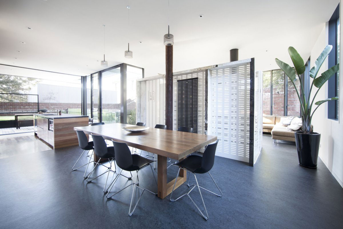 Wooden Dining Table, Warehouse Conversion in Fitzroy North, Australia