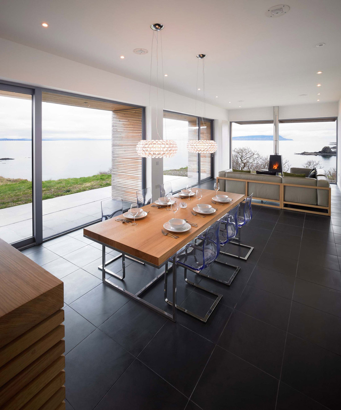Wooden, Metal, Dining Table, Lighting, Contemporary Home on the Isle of Skye, Scotland