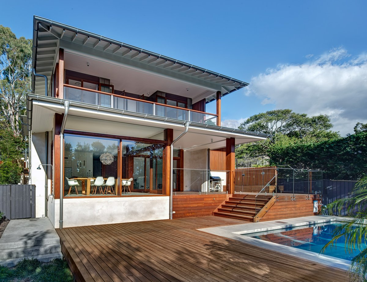 Wooden Terrace, Pool Area, Contemporary Home in Sydney Australia