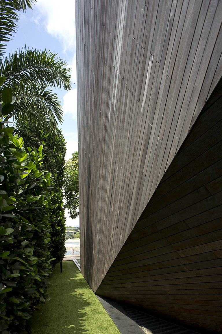 Architecture, Wood Cladding, Lakeside Family Home in Singapore