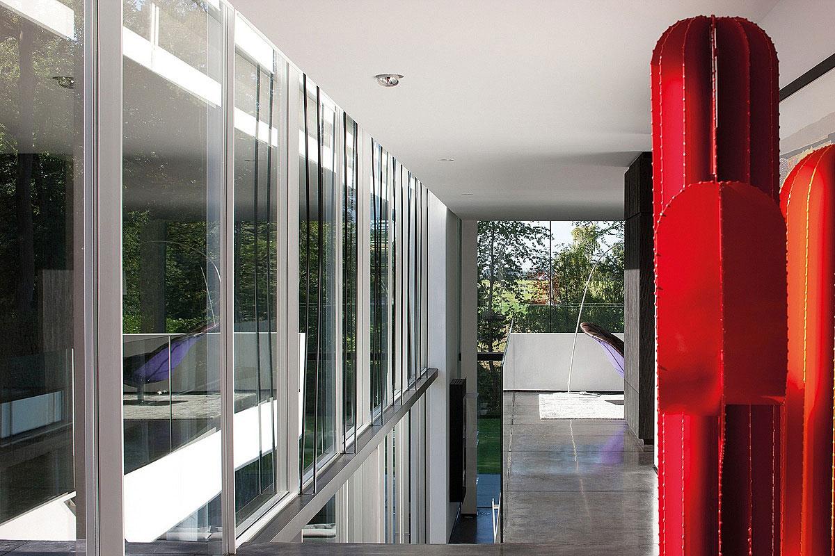 Art, Hallway, Sophisticated Glass Home in Belgium
