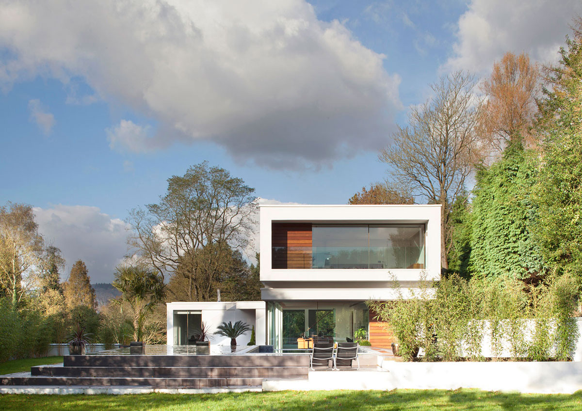 Balcony, Glass Balustrading, Eco-Friendly Modern Home in Tandridge, England