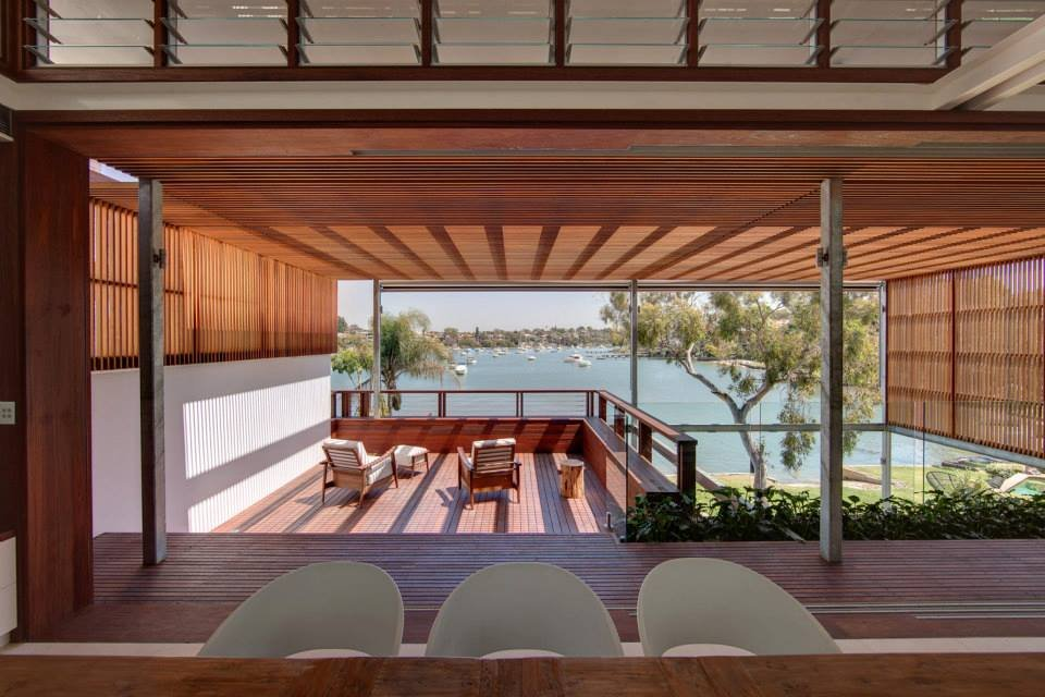 Balcony, Views, Modern Waterfront Home in Sydney, Australia