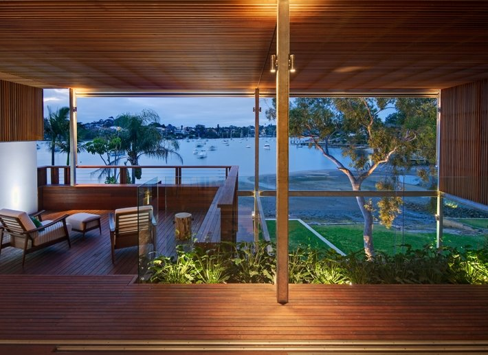Balcony, Water Views, Modern Waterfront Home in Sydney, Australia