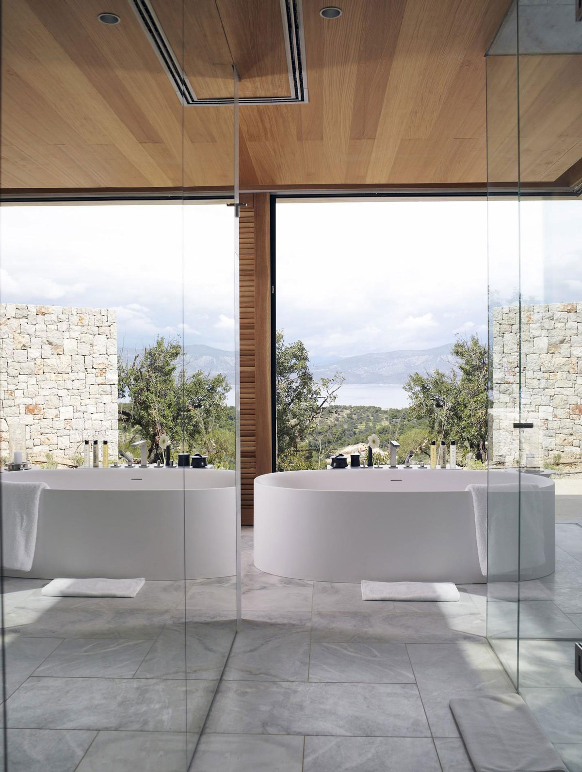 Bathroom, Sea Views, Marble Tiles, Mirrors, Elegant Villas in Kranidi, Greece
