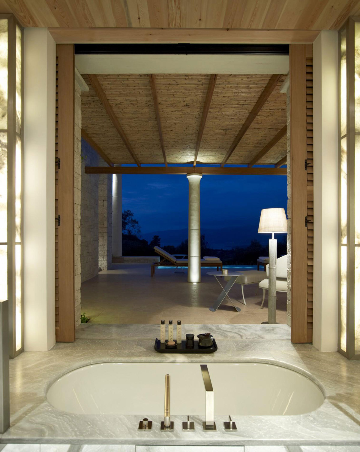 Bathroom, Terrace, Evening Views, Elegant Villas in Kranidi, Greece