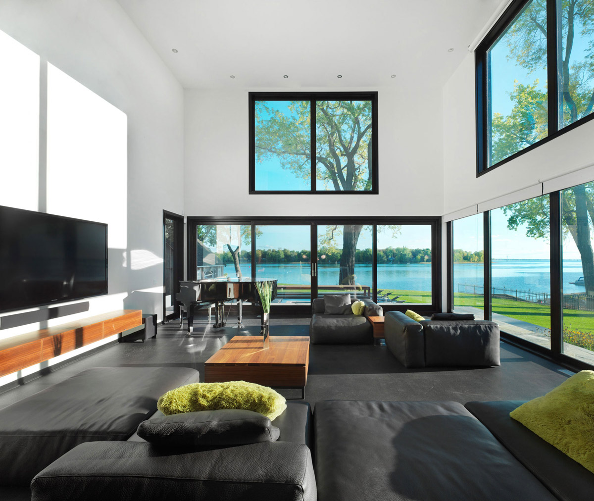 Black Leather Sofas, Living Room, Renovation and Addition in Dorval, Canada