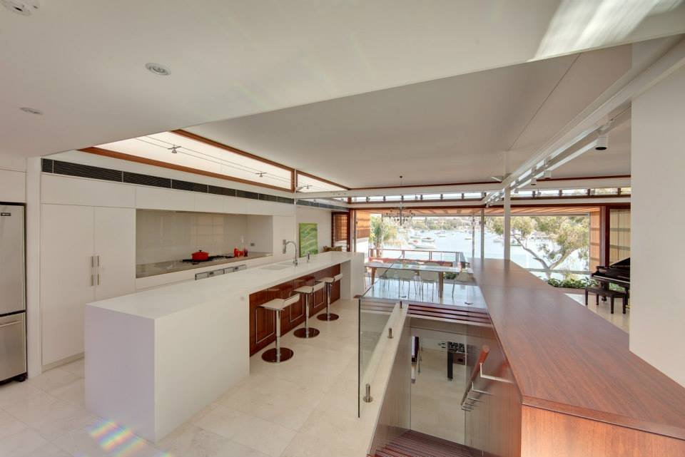 Breakfast Bar, Glass Balustrading, Stairs, Modern Waterfront Home in Sydney, Australia
