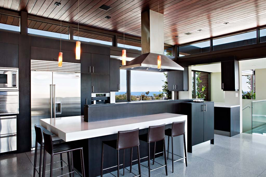 Breakfast Bar, Kitchen, Exceptional Glass & Wood Home in Los Angeles, California