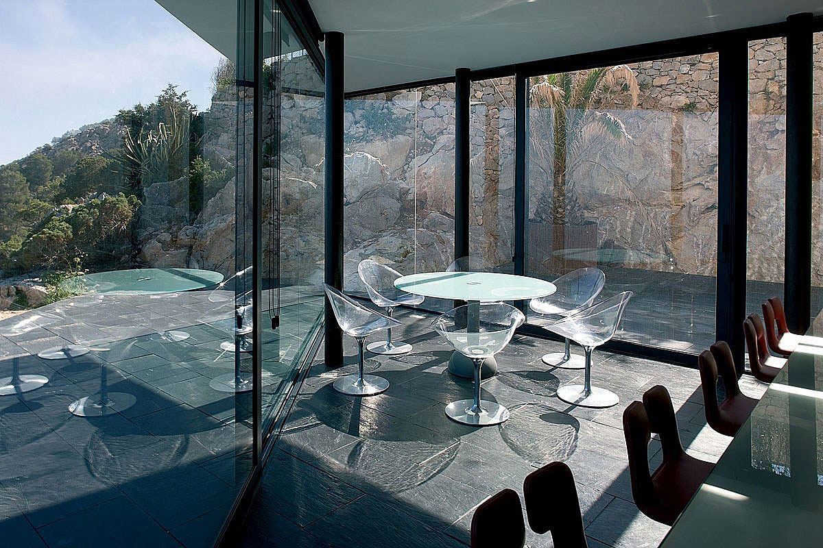 Breakfast Table, Glass Walls, Stunning Clifftop Home in Ibiza, Spain