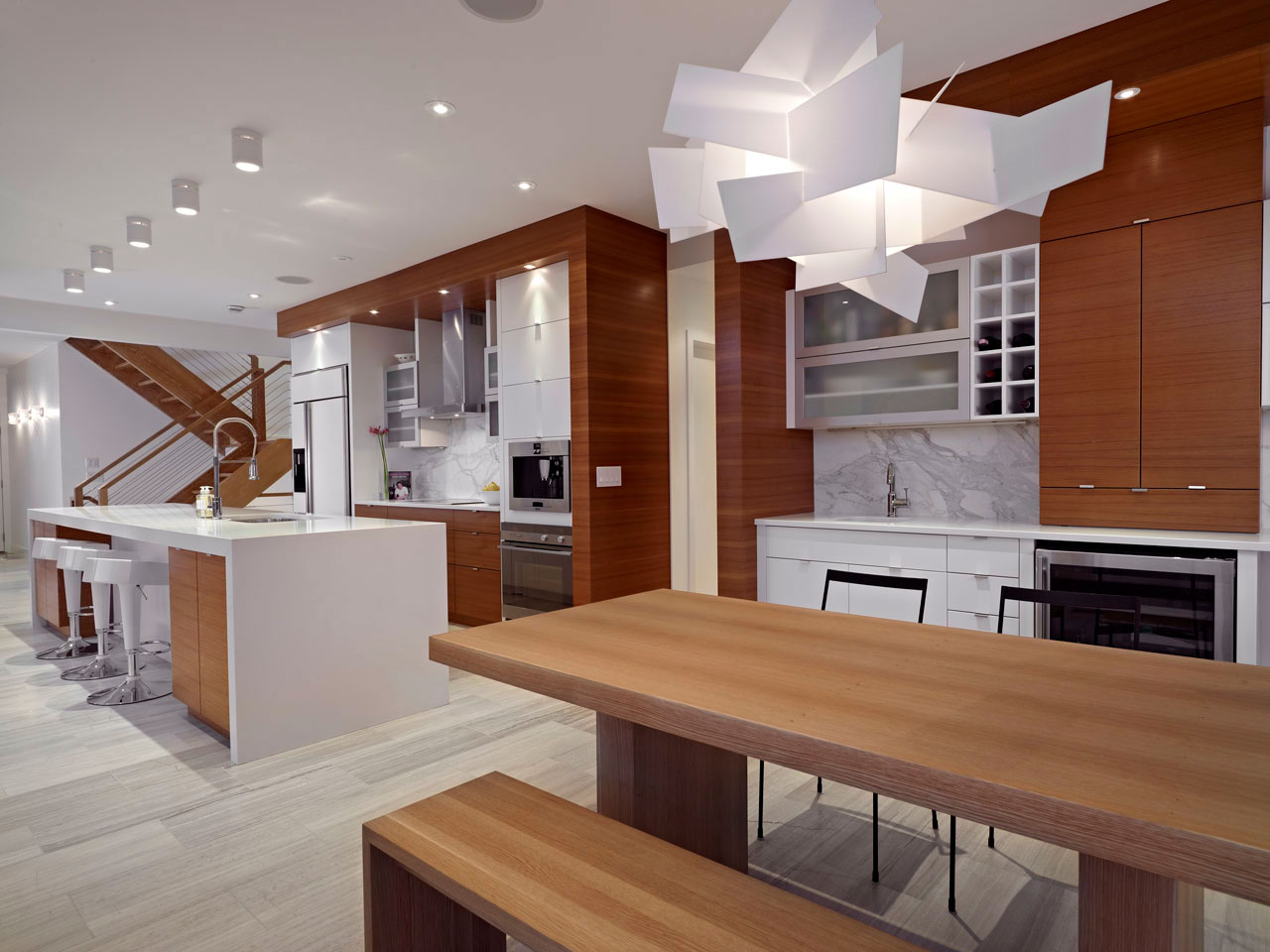 Breakfast Table, Lighting, Contemporary Home in Edmonton, Canada