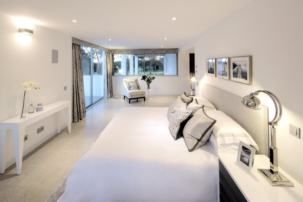 Bright White Bedroom, Modern Home in Quinta do Lago, Portugal