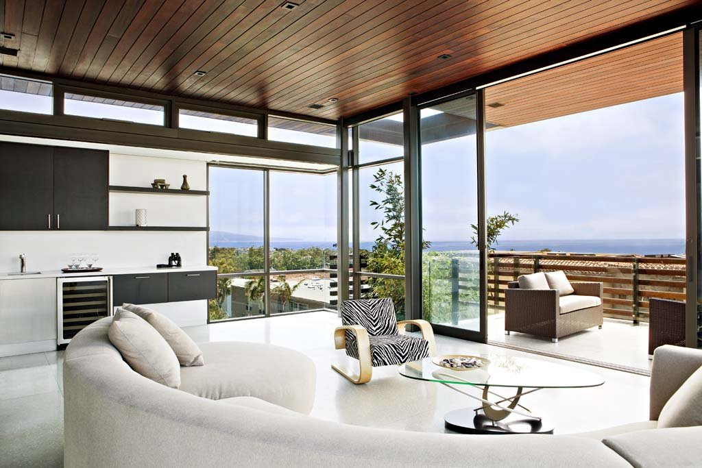 Circular Sofa, Coffee Table, Exceptional Glass & Wood Home in Los Angeles, California