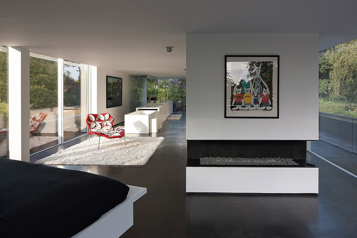 Contemporary Fireplace, Sophisticated Glass Home in Belgium