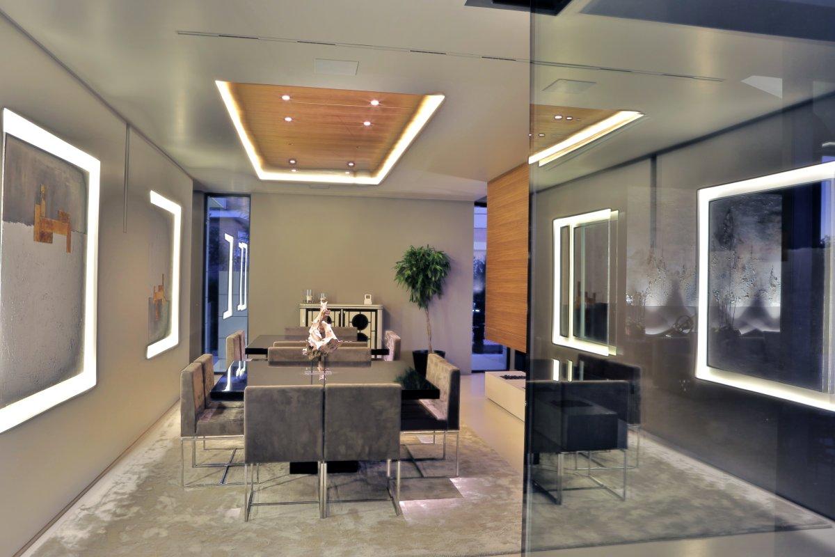 Dining Room, Lighting, Futuristic Home in Madrid, Spain