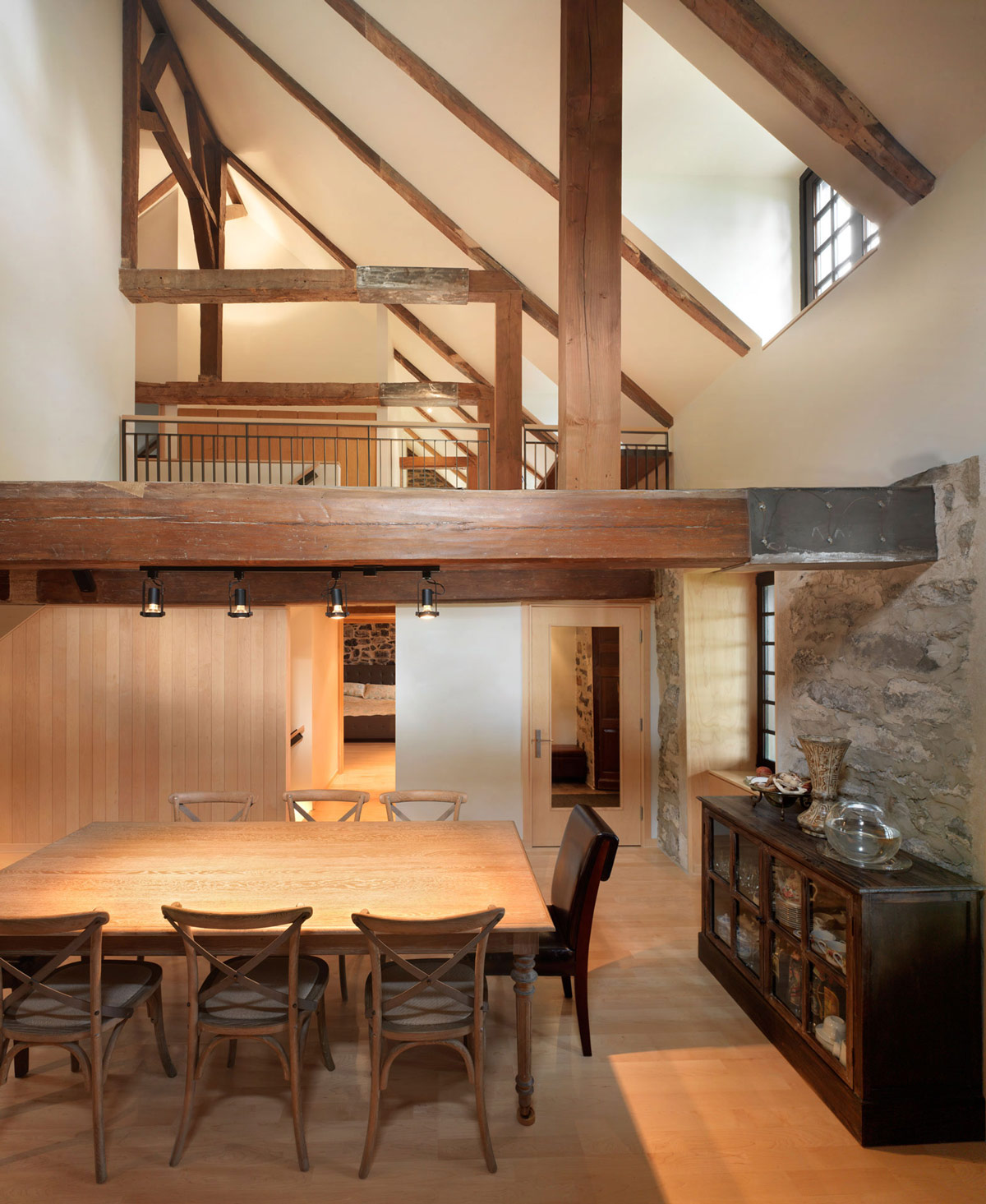 Dining Room, Beams, Stone Walls, Renovation and Addition in Dorval, Canada
