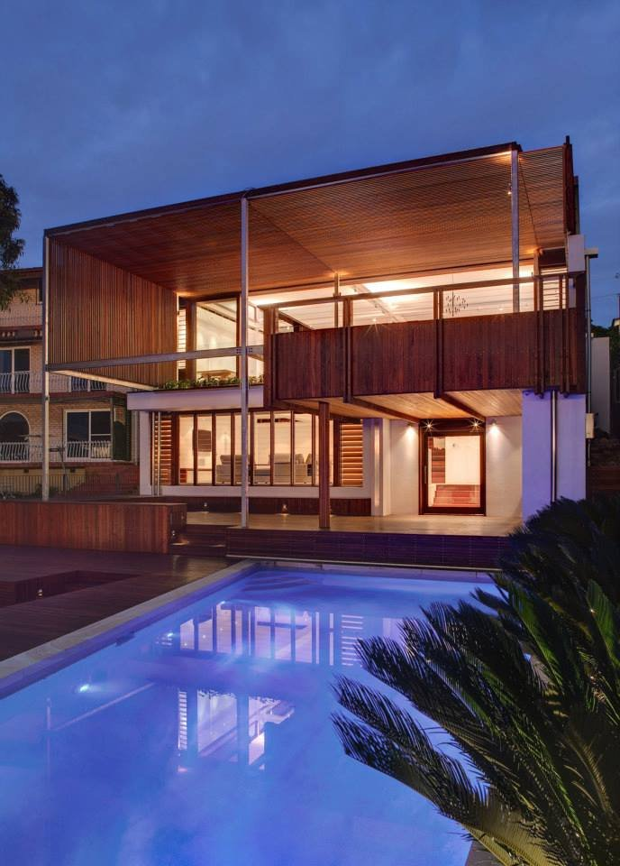 Evening, Pool Lighting, Modern Waterfront Home in Sydney, Australia