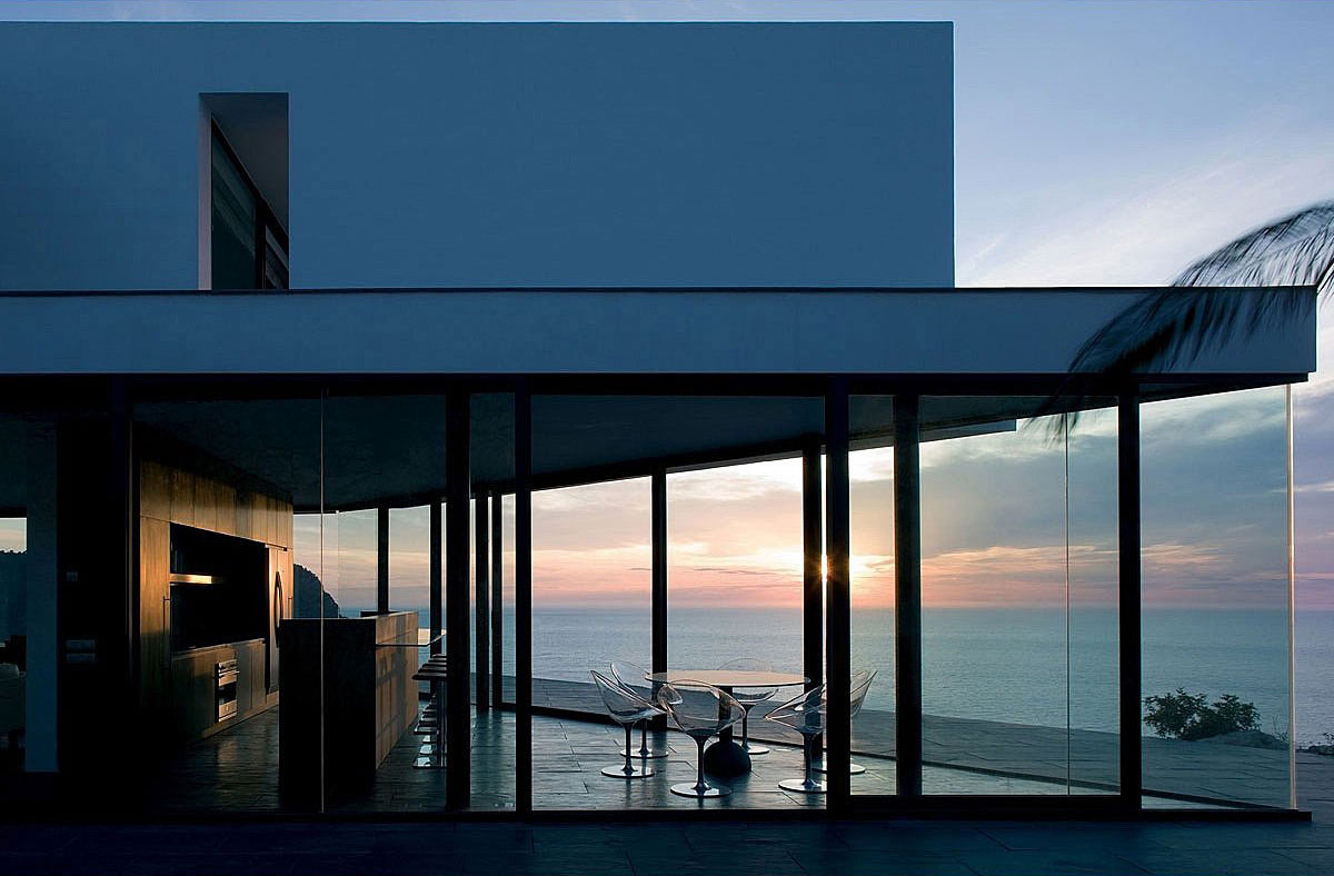 Evening, Glass Walls, Terrace, Stunning Clifftop Home in Ibiza, Spain