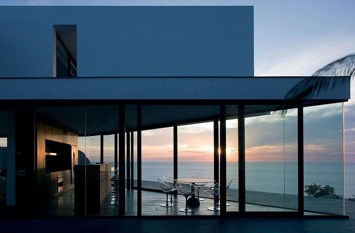 Evening, Glass Walls, Terrace, Stunning Clifftop Home in Ibiza, Spain