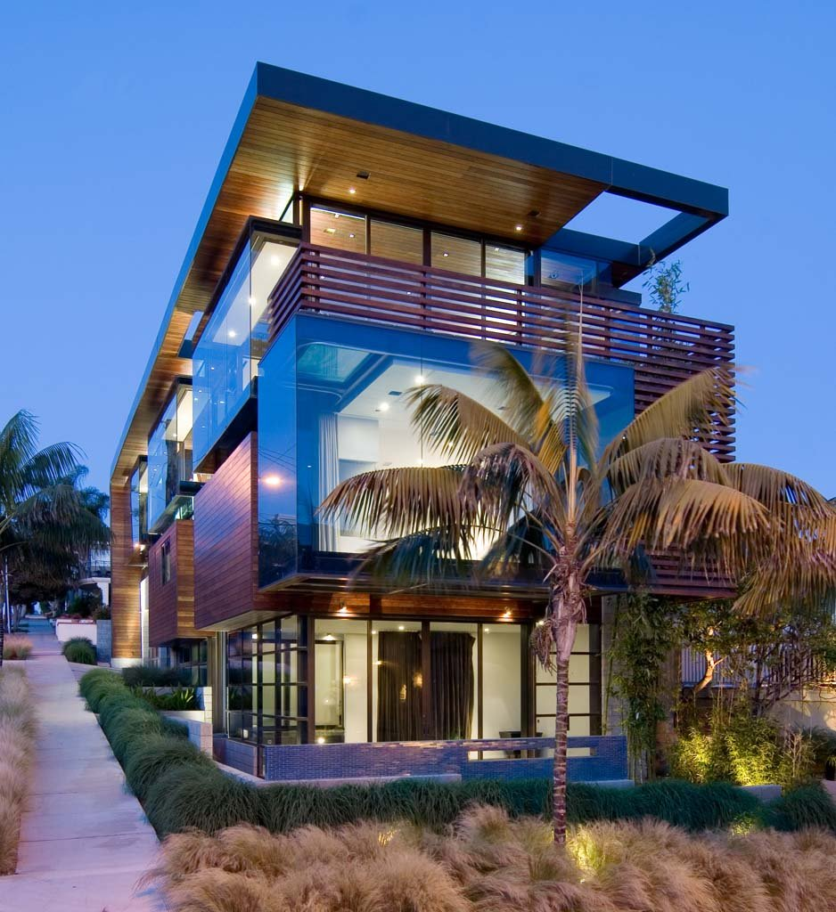 Evening, Lighting, Exceptional Glass & Wood Home in Los Angeles, California