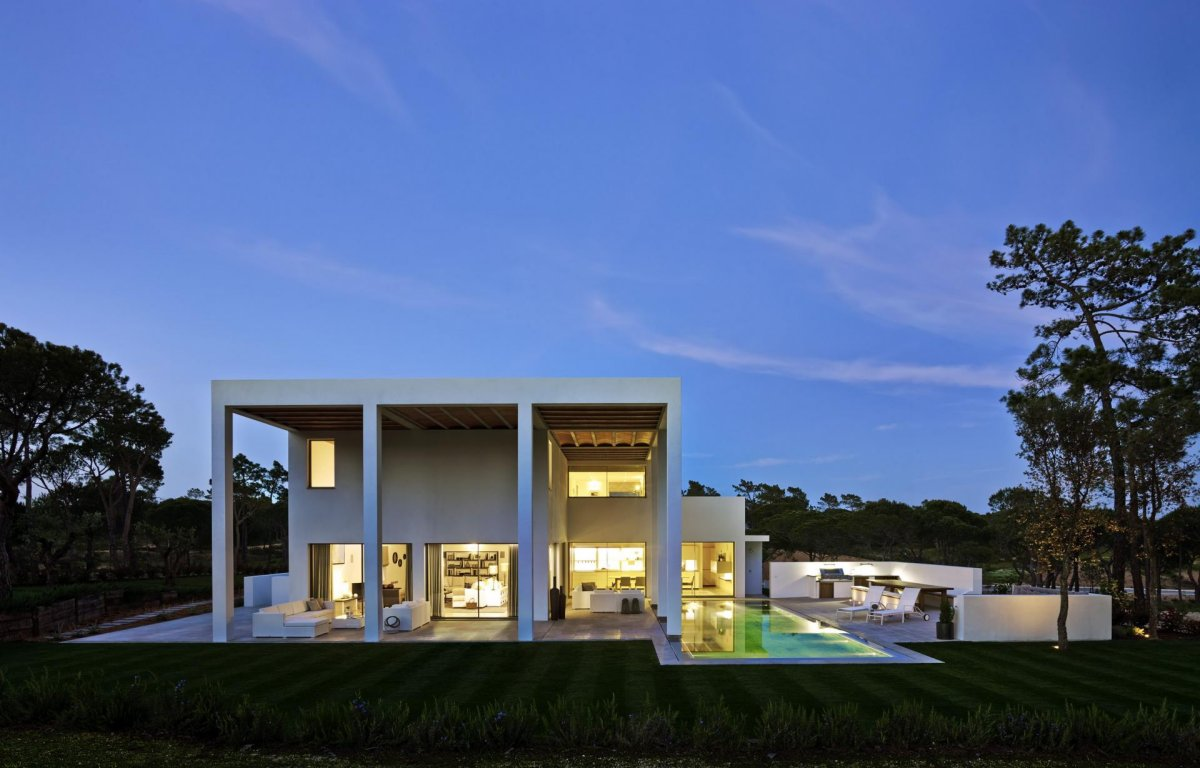 Evening Lighting, Modern Home in Quinta do Lago, Portugal