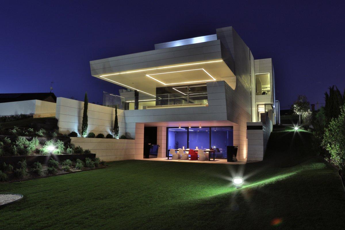 Evening Lighting, Terrace, Futuristic Home in Madrid, Spain