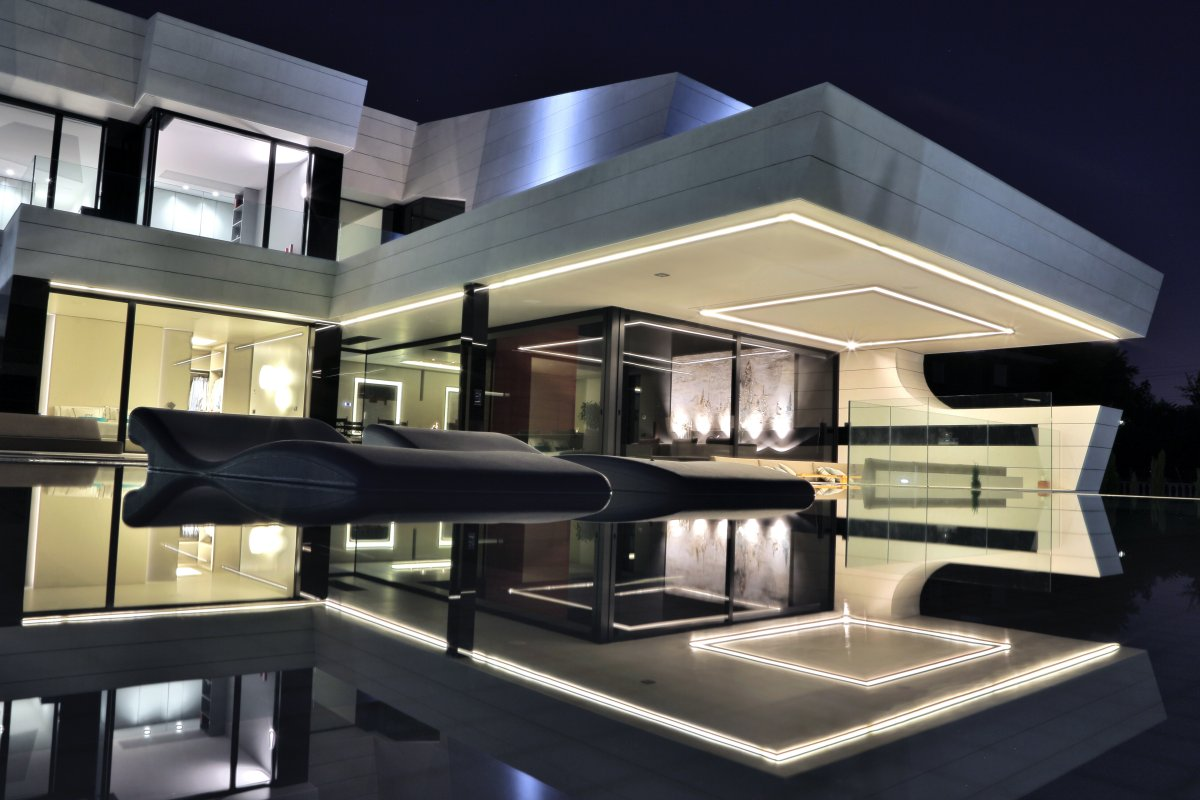 Evening Lights, Futuristic Home in Madrid, Spain