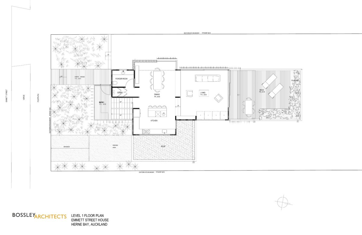 First Floor Plan, Bathroom, 1950-60s Inspired Home in Auckland, New Zealand